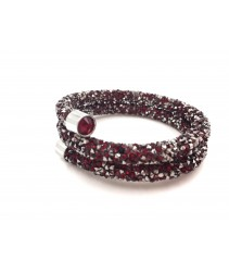 Bracelet crystal Double - Red + Silver