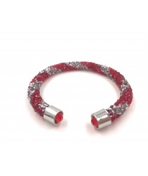 Bracelet crystal Twist - Chili Red + Silver (Single Layer)