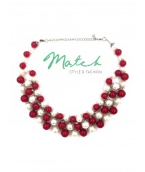 Collar necklace red & white pearl