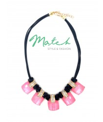 necklace casual black leather with five square pink stones with diamonds
