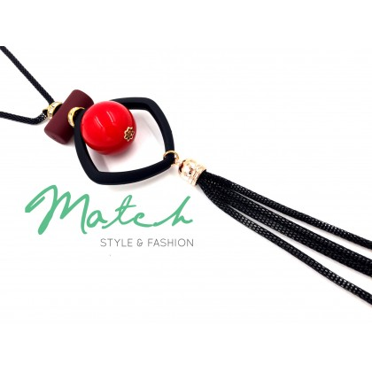 Long necklace Cherry in square