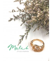 Gold love shape leaves ring