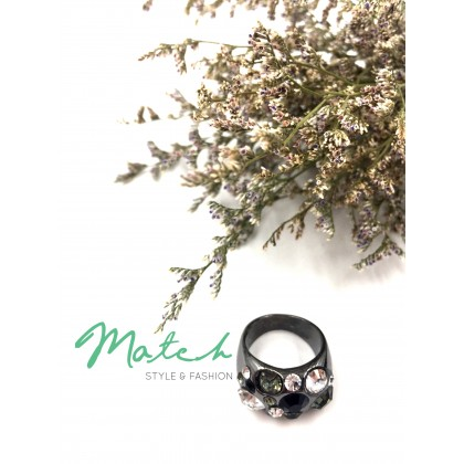 Black silver crystal diamonds ring