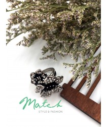 Silver big & small flower ring