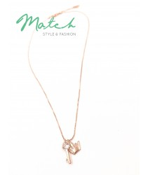 Korea designed necklace - Rose gold crown with key