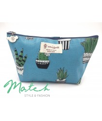 Korea designed handmade multi porch bag - Blue big cactus