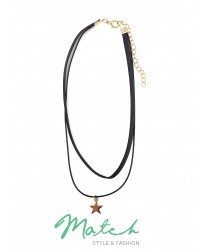 Fashion two layers black chock with gold star