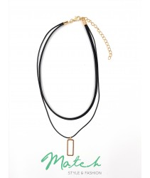 Fashion two layers black chocker with gold rectangle