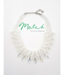 Elegant white crystal necklace collar style