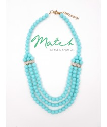 Necklace elegant 3 layers light blue stones