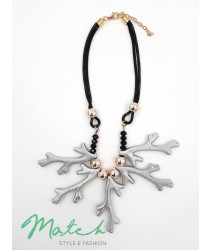 Necklace casual black leather with  silver grey branches of tree