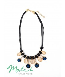 Necklace casual black leather blue white cat eye stone