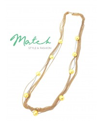 Long necklace gold chain yellow pearls