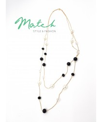 Long necklace two layers gold chain black & white pearls