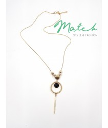 Long necklace gold chain simple circle pendants