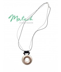 Long necklace simple black chain silver circle pendant
