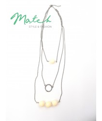 Long necklace three layers silver chain with white beads stones