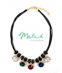 Necklace casual black leather with colourful diamonds