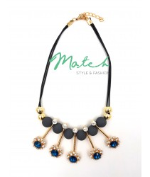 Necklace casual black leather with five blue diamonds and grey beads