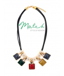 Necklace casual black leather multi colours square pandants