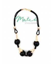 Necklace casual four black plastic beads