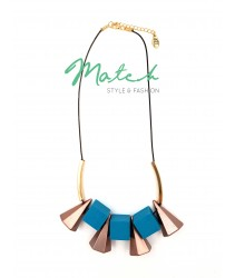 Korea style wooden blue necklace