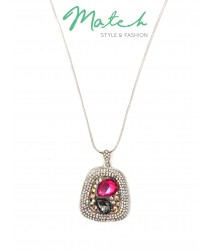 Long necklace elegant korea style diamonds pink & grey crystal stones