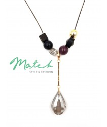 Long necklace korea style maroon beads big water drop diamond